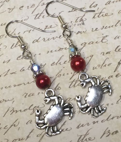 Red Crab Beaded Dangle Earrings
