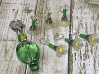 Green Crystal Stitch Marker Holder & Yellow Daffodil Stitch Markers , Stitch Markers - Jill's Beaded Knit Bits, Jill's Beaded Knit Bits  - 9