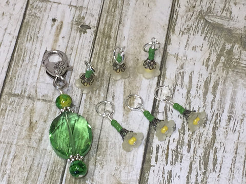 Green Crystal Stitch Marker Holder & Yellow Daffodil Stitch Markers , Stitch Markers - Jill's Beaded Knit Bits, Jill's Beaded Knit Bits  - 10