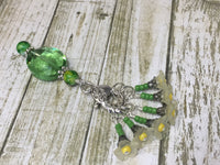 Green Crystal Stitch Marker Holder & Yellow Daffodil Stitch Markers , Stitch Markers - Jill's Beaded Knit Bits, Jill's Beaded Knit Bits  - 2