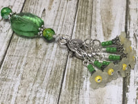 Green Crystal Stitch Marker Holder & Yellow Daffodil Stitch Markers , Stitch Markers - Jill's Beaded Knit Bits, Jill's Beaded Knit Bits  - 3