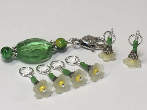 Green Crystal Stitch Marker Holder & Yellow Daffodil Stitch Markers , Stitch Markers - Jill's Beaded Knit Bits, Jill's Beaded Knit Bits  - 6
