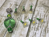 Green Crystal Stitch Marker Holder & Yellow Daffodil Stitch Markers , Stitch Markers - Jill's Beaded Knit Bits, Jill's Beaded Knit Bits  - 7