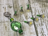 Green Crystal Stitch Marker Holder & Yellow Daffodil Stitch Markers , Stitch Markers - Jill's Beaded Knit Bits, Jill's Beaded Knit Bits  - 8