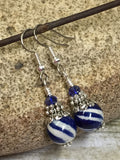 Navy Blue Striped French Hook Earrings , jewelry - Jill's Beaded Knit Bits, Jill's Beaded Knit Bits  - 2