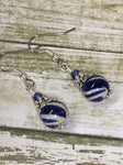 Navy Blue Striped French Hook Earrings , jewelry - Jill's Beaded Knit Bits, Jill's Beaded Knit Bits  - 3