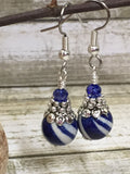 Navy Blue Striped French Hook Earrings , jewelry - Jill's Beaded Knit Bits, Jill's Beaded Knit Bits  - 5