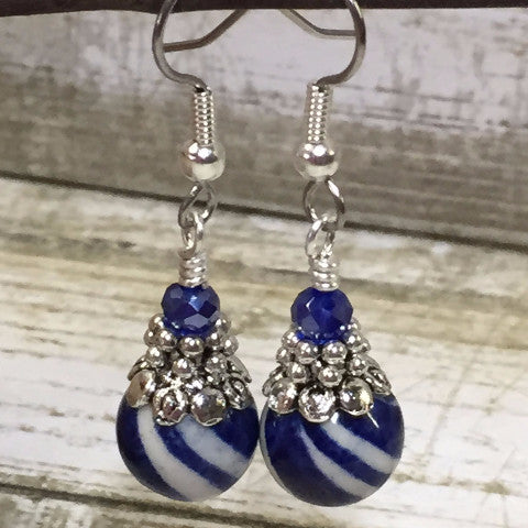 Navy Blue Striped French Hook Earrings , jewelry - Jill's Beaded Knit Bits, Jill's Beaded Knit Bits  - 1
