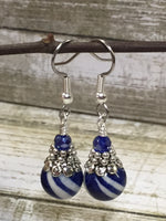 Navy Blue Striped French Hook Earrings , jewelry - Jill's Beaded Knit Bits, Jill's Beaded Knit Bits  - 6