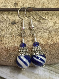 Navy Blue Striped French Hook Earrings , jewelry - Jill's Beaded Knit Bits, Jill's Beaded Knit Bits  - 7