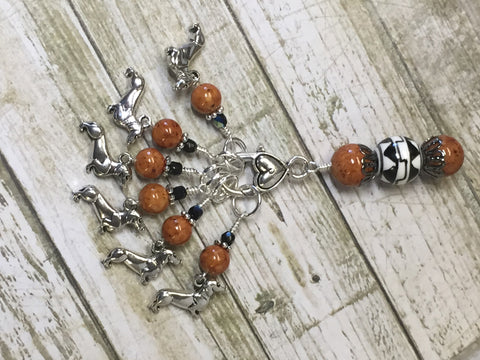 Dachshund Stitch Markers And Beaded Stitch Marker Holder , Stitch Markers - Jill's Beaded Knit Bits, Jill's Beaded Knit Bits  - 2