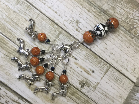 Dachshund Stitch Markers And Beaded Stitch Marker Holder , Stitch Markers - Jill's Beaded Knit Bits, Jill's Beaded Knit Bits  - 3