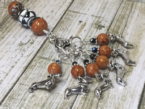 Dachshund Stitch Markers And Beaded Stitch Marker Holder , Stitch Markers - Jill's Beaded Knit Bits, Jill's Beaded Knit Bits  - 4