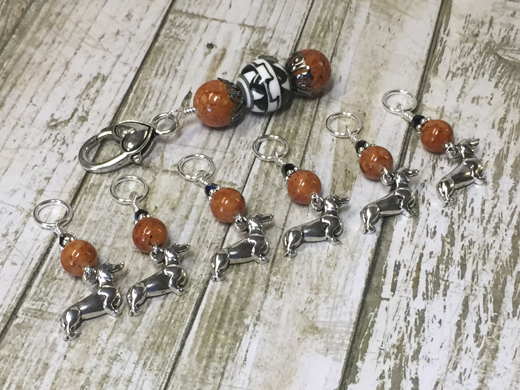 Dachshund Stitch Markers And Beaded Stitch Marker Holder , Stitch Markers - Jill's Beaded Knit Bits, Jill's Beaded Knit Bits  - 1