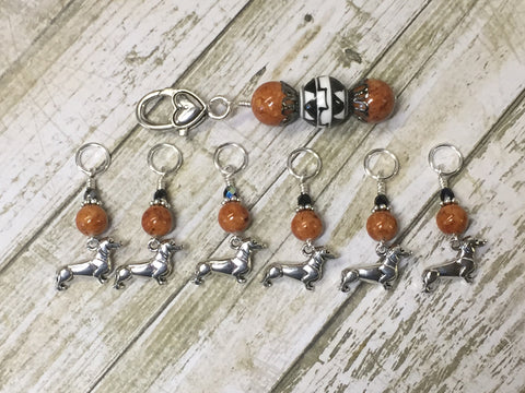 Dachshund Stitch Markers And Beaded Stitch Marker Holder , Stitch Markers - Jill's Beaded Knit Bits, Jill's Beaded Knit Bits  - 5