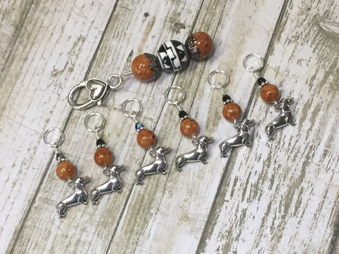 Dachshund Stitch Markers And Beaded Stitch Marker Holder , Stitch Markers - Jill's Beaded Knit Bits, Jill's Beaded Knit Bits  - 6