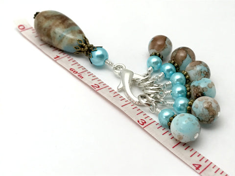 Earth & Sky Stitch Marker Set with Matching Holder