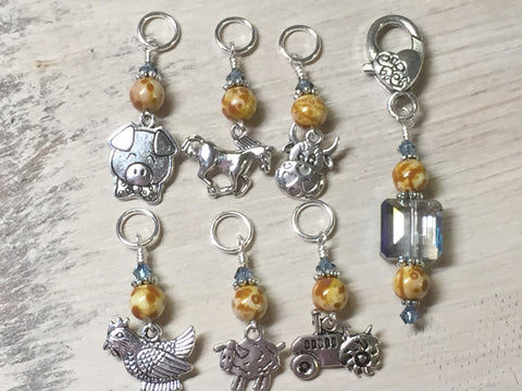 Farmyard Stitch Marker Set- Includes Beaded Stitch Marker Holder , Stitch Markers - Jill's Beaded Knit Bits, Jill's Beaded Knit Bits  - 1