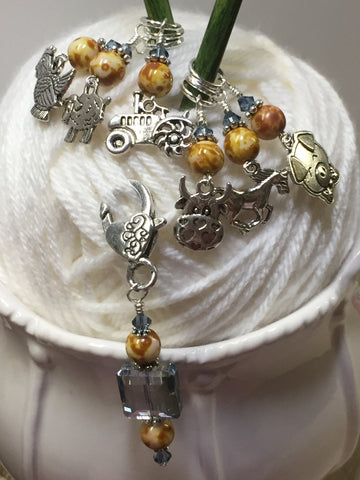 Farmyard Stitch Marker Set- Includes Beaded Stitch Marker Holder , Stitch Markers - Jill's Beaded Knit Bits, Jill's Beaded Knit Bits  - 3