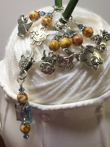 Farmyard Stitch Marker Set- Includes Beaded Stitch Marker Holder , Stitch Markers - Jill's Beaded Knit Bits, Jill's Beaded Knit Bits  - 4