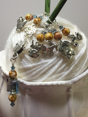 Farmyard Stitch Marker Set- Includes Beaded Stitch Marker Holder , Stitch Markers - Jill's Beaded Knit Bits, Jill's Beaded Knit Bits  - 5