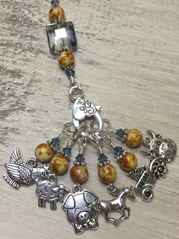 Farmyard Stitch Marker Set- Includes Beaded Stitch Marker Holder , Stitch Markers - Jill's Beaded Knit Bits, Jill's Beaded Knit Bits  - 6