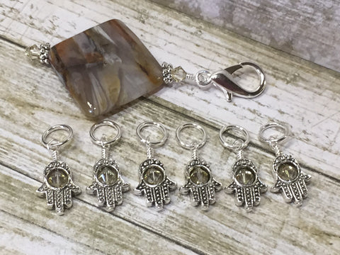 6 Hamsa Hand Stitch Markers with Beaded Stitch Marker Holder , Stitch Markers - Jill's Beaded Knit Bits, Jill's Beaded Knit Bits  - 5