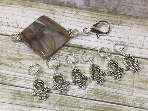 6 Hamsa Hand Stitch Markers with Beaded Stitch Marker Holder , Stitch Markers - Jill's Beaded Knit Bits, Jill's Beaded Knit Bits  - 6