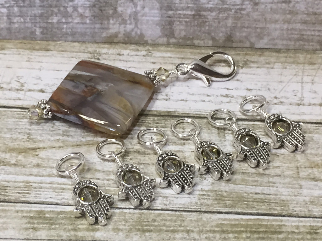 6 Hamsa Hand Stitch Markers with Beaded Stitch Marker Holder , Stitch Markers - Jill's Beaded Knit Bits, Jill's Beaded Knit Bits  - 1