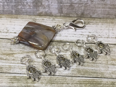 6 Hamsa Hand Stitch Markers with Beaded Stitch Marker Holder