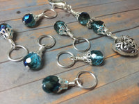 Filigree Heart Stitch Marker Holder-Teal , Stitch Markers - Jill's Beaded Knit Bits, Jill's Beaded Knit Bits  - 1