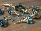 Filigree Heart Stitch Marker Holder-Teal , Stitch Markers - Jill's Beaded Knit Bits, Jill's Beaded Knit Bits  - 5