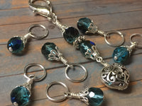 Filigree Heart Stitch Marker Holder-Teal , Stitch Markers - Jill's Beaded Knit Bits, Jill's Beaded Knit Bits  - 6