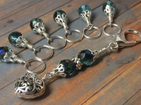 Filigree Heart Stitch Marker Holder-Teal , Stitch Markers - Jill's Beaded Knit Bits, Jill's Beaded Knit Bits  - 2