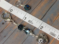 Filigree Heart Stitch Marker Holder-Teal , Stitch Markers - Jill's Beaded Knit Bits, Jill's Beaded Knit Bits  - 7