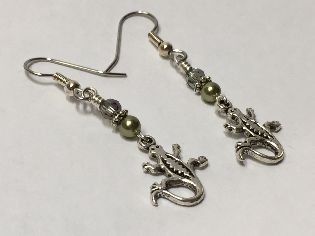 Gecko Beaded Dangle Earrings , jewelry - Jill's Beaded Knit Bits, Jill's Beaded Knit Bits  - 1