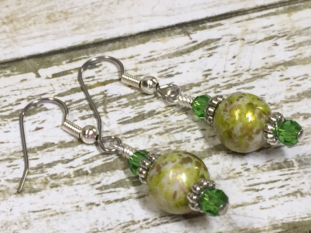 Green Splash Dangle Earrings , jewelry - Jill's Beaded Knit Bits, Jill's Beaded Knit Bits  - 1