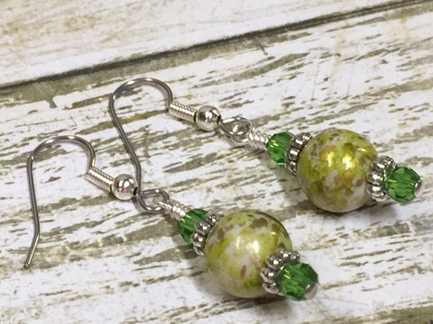 Green Splash Dangle Earrings