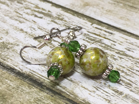Green Splash Dangle Earrings , jewelry - Jill's Beaded Knit Bits, Jill's Beaded Knit Bits  - 2