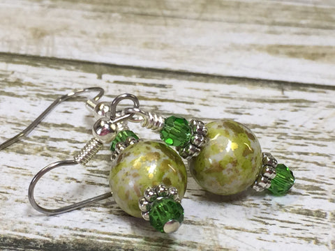 Green Splash Dangle Earrings , jewelry - Jill's Beaded Knit Bits, Jill's Beaded Knit Bits  - 3