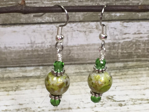 Green Splash Dangle Earrings , jewelry - Jill's Beaded Knit Bits, Jill's Beaded Knit Bits  - 4