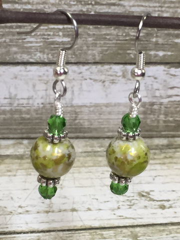 Green Splash Dangle Earrings , jewelry - Jill's Beaded Knit Bits, Jill's Beaded Knit Bits  - 5
