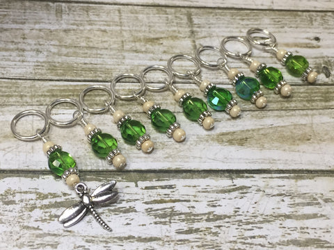 Green Beaded Dragonfly Stitch Marker Set , Stitch Markers - Jill's Beaded Knit Bits, Jill's Beaded Knit Bits  - 2