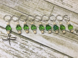 Green Beaded Dragonfly Stitch Marker Set , Stitch Markers - Jill's Beaded Knit Bits, Jill's Beaded Knit Bits  - 3