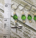 Green Beaded Dragonfly Stitch Marker Set , Stitch Markers - Jill's Beaded Knit Bits, Jill's Beaded Knit Bits  - 4