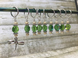 Green Beaded Dragonfly Stitch Marker Set , Stitch Markers - Jill's Beaded Knit Bits, Jill's Beaded Knit Bits  - 5