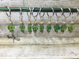 Green Beaded Dragonfly Stitch Marker Set , Stitch Markers - Jill's Beaded Knit Bits, Jill's Beaded Knit Bits  - 6