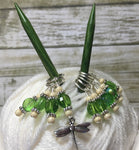 Green Beaded Dragonfly Stitch Marker Set , Stitch Markers - Jill's Beaded Knit Bits, Jill's Beaded Knit Bits  - 7