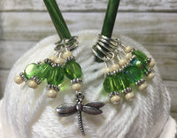 Green Beaded Dragonfly Stitch Marker Set , Stitch Markers - Jill's Beaded Knit Bits, Jill's Beaded Knit Bits  - 1