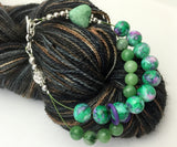 Green Heart Abacus Knitting Row Counting Bracelet - Stitch Markers Add On Option